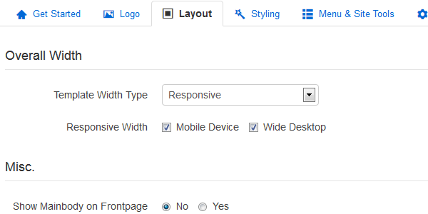 Layout configuration by template parameters